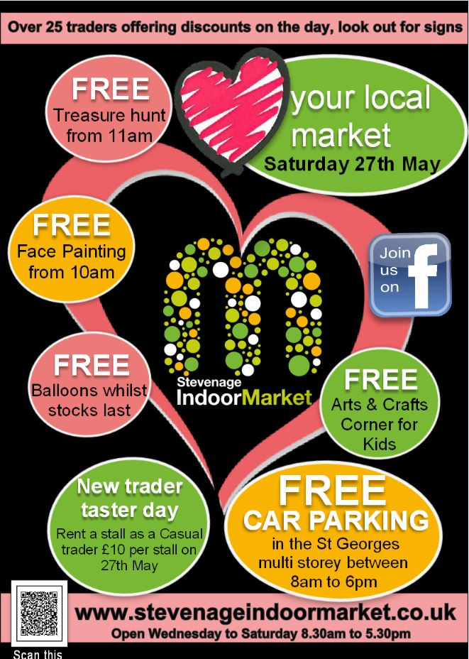 Bank Holiday activities, May half term, half term activities, things to do Stevenage, things to do Hertfordshire, shops, Stevenage shopping, Love Your Local Market 2017, events, local events, casual traders; market stalls, trade on a market, Indoor market, Stevenage indoor market, markets, Hertfordshire markets, traders, local market, love your local market, market, events, children events